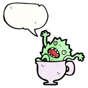 Stock Illustration of cartoon monster in teacup