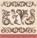 Stock Illustration of vintage floral elements pack. flourish ornament border. high detail vector.