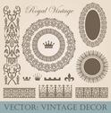 Stock Illustration of vintage elements pack. frames, borders, decor. high detail vector.
