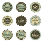 Vintage labels set. sale, membership, luxury style. retro design. Stock Illustration