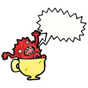 cartoon monster in teacup - stock illustration