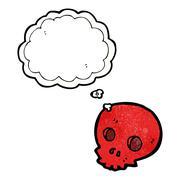 cartoon skull with thought balloon - stock illustration