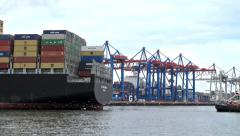 Container ships - Hamburg harbour Stock Footage