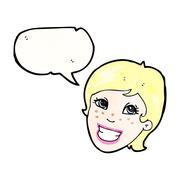 Stock Illustration of cartoon grinning advert girl