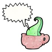 tentacle in teacup cartoon - stock illustration