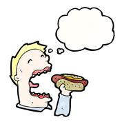 cartoon greedy man eating junk food - stock illustration