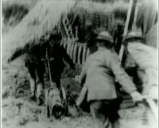 WW1 - US Troops - Front line 05 - Reloading Artillery Gun 01 Stock Footage