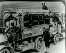 WW1 - US Troops - Transportation Trucks 21 Stock Footage