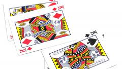 Flying poker king cards Stock Footage