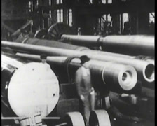 WW1 - US Weapon Factory 03 - Canon 02 Stock Footage