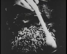 WW1 - US Weapon Factory 05 - Pistol Bullets Stock Footage