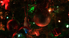 Christmas tree decorated with New Year toys - stock footage