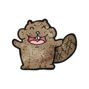 cartoon beaver - stock illustration