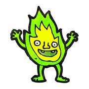 cartoon green flame spirit - stock illustration