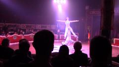 2 female performers at Raluy Circus act of Barcelona Spain Stock Footage