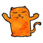 cartoon ginger cat - stock illustration