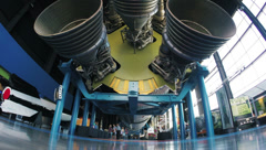 Saturn V Rocket and Engines on Display in Museum 2.7K Stock Footage