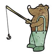 cartoon bear with fishing rod - stock illustration