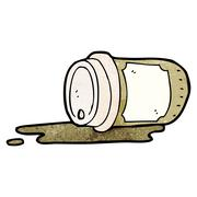 Stock Illustration of spilled take out coffee cartoon