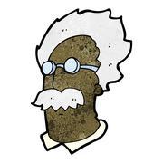 Stock Illustration of cartoon genius scientist face