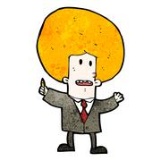 cartoon ginger man in suit - stock illustration