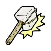 Cartoon mallet hitting Stock Illustration