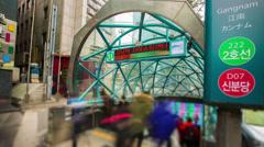 Seoul City 280 Gangnam Subway Station Stock Footage