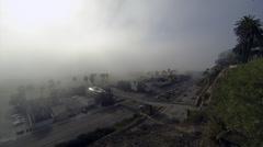 Pch 1 santa monica traffic on a foggy day Stock Footage