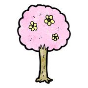 Stock Illustration of decorative pink tree cartoon
