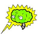 Stock Illustration of glowing brain cartoon