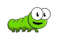Inquisitive green cartoon caterpillar Stock Illustration