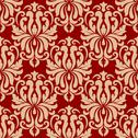 Stock Illustration of ornate arabesque repeat pattern on red