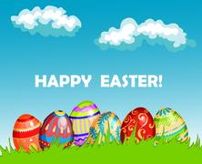 Colourful happy easter greeting card design Stock Illustration