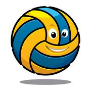 happy colourful bouncing volley ball - stock illustration