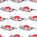 Stock Illustration of red grilled prawn on a plate with chopsticks
