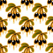 Seamless pattern of olive oil dripping from olives Stock Illustration