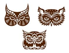 collection of wise old owl faces - stock illustration