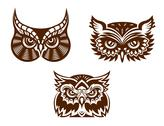 Stock Illustration of collection of wise old owl faces