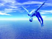 Stock Illustration of 3d alien diver over blue ocean