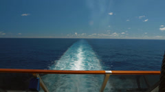 View from the stern of a big cruise ship - stock footage