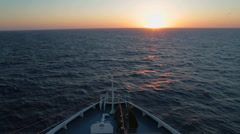 Bow of the ship sunset - stock footage