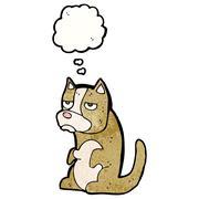 grumpy little dog cartoon - stock illustration