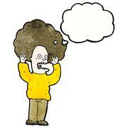 Stock Illustration of cartoon man with big hair