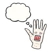 Stock Illustration of scary shrieking hand cartoon
