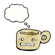 cartoon anxious coffee cup - stock illustration