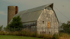 Old Barn and Silo backside Stock Footage