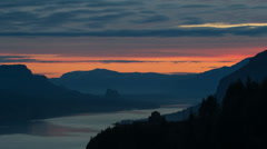 Sunrise with Clouds along Beautiful Columbia River Gorge in Oregon Timelapse Stock Footage