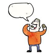 cartoon greedy man eating doughnuts - stock illustration
