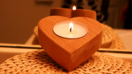 Stock Video Footage of Candle in heart shaped container