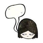 cartoon goth girl - stock illustration